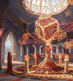 Magical shrine, Minjeong Kim - Steampunk / magical setting glowing boxes, components, alchemists RPG setting inspiration for fantasy games Fantasy City, Fantasy Places, High Fantasy, Fantasy World, Sci Fi Fantasy, Fantasy Concept Art, Fantasy Artwork, Art Et Illustration, Fantasy Setting