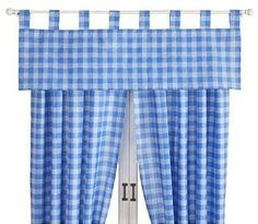 Plaid blue valance curtains
