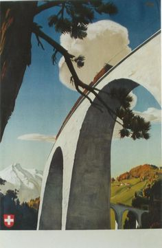 Original poster showing train in Switzerland