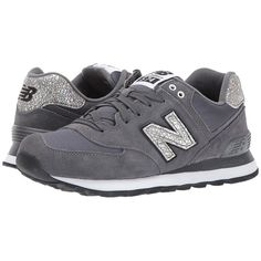 New Balance Classics WL574 Shattered Pearl (Magnet/Black) Women's Lace... (4.595 RUB) ❤ liked on Polyvore featuring shoes, black lace up shoes, iridescent shoes, new balance classics, pearl shoes and black shoes