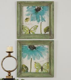 Stunning for Spring! Prints are accented by frames with medium brown undertones and heavily distressed layers of different shades of green and gray. $152.00