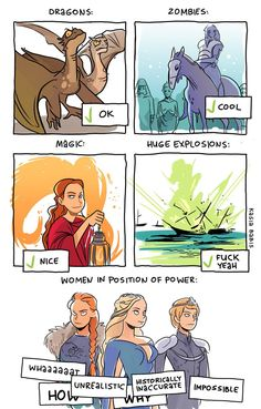 What people find believable in GoT – comic by Kasia Babis - Game of Thrones Fandoms, Game Of Trones, My Champion, Fangirl, My Sun And Stars, Valar Morghulis, Faith In Humanity, Powerful Women, Nerdy