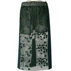 Sacai lace-embroidered midi skirt (£715) ❤ liked on Polyvore featuring skirts, green, midi skirts, green lace skirt, green midi skirt, mid length skirts and mid calf length skirts