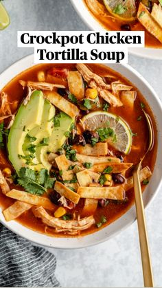 Hearty Soup Recipes, Slow Cooker Recipes, Crockpot Recipes, Cooking Recipes, Healthy Recipes, Slow Cooker Tortilla Soup, Chicken Tortilla Soup, Slow Cooker Chicken, Crock Pot Soup