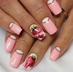 cool nails ideas with fruits pink french nails with strawberries
