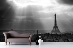 Paris Black And White Wallpaper Wall Mural | MuralsWallpaper.co.uk