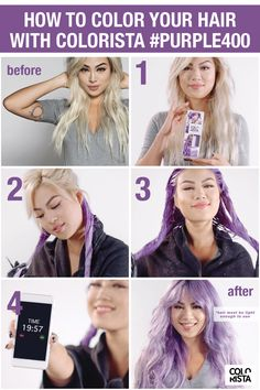 Colorista semi permanent hair color by L'Oréal Paris. Ammonia free hair dye for light blonde or bleached hair with pure direct dyes that fades in shampoos. Hair Lights, Light Hair, Light Purple Hair, Long Face Hairstyles, Diy Hairstyles, Scene Hairstyles, Updo Hairstyle, Wedding Hairstyles, Blonde Balayage
