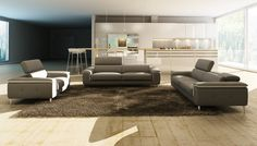 Divani Casa 990 Modern Grey and White Italian Leather Sofa Set