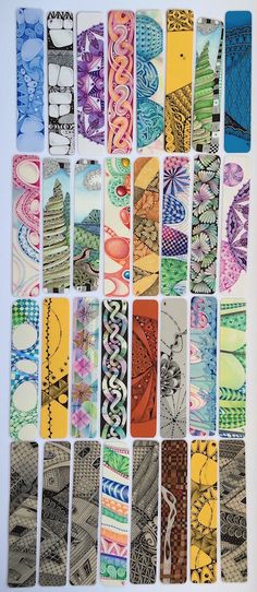 Margaret Bremner - Artist and CZT. Zentangle and arty things. Bookmarks For Books, Creative Bookmarks, Diy Bookmarks, Watercolor Bookmarks, Watercolor Flowers, Watercolor Art, Bookmark Printing, Bookmark Craft, Book Markers