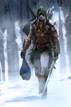 """""""Link"""" by Brenoch Adams Blogasm. Pretty awesome drawing. Reminds me of Assassin's Creed for some odd reason."""