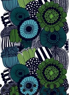 """Marimekko, renowned Finnish textile and clothing design company founded in 1951.  This particular fabric design is called """"Siirtolapuutarha"""" by Maija Louekari.  Wonderful link to Marimekko's website features all of the designers."""