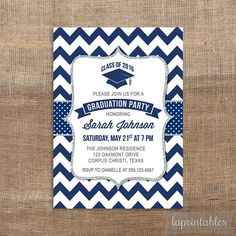 This personalized PRINTABLE invitation features a navy, white and silver glitter design for your Graduation Party. ▶ YOU WILL RECEIVE: A customized
