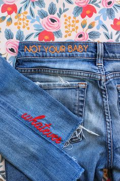 Embroidered denim is everywhere this season but you don't need to go out and spend money on it - DIY your own denim instead!