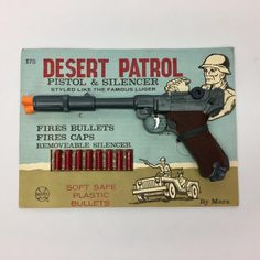 Marx Desert Patrol Toy Pistol & Silencer On Original Card Soft Bullets Cap Gun  | eBay