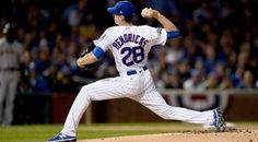 Kyle Hendricks #28 of the Chicago Cubs pitches in the first inning against the San Francisco Giants at Wrigley Field on October 8, 2016 in Chicago, Illinois. (Photo by Stacy Revere/Getty Images) Adrian Gonzalez, Chicago Cubs, Chicago Illinois, Go Cubs Go, Wrigley Field, Los Angeles Dodgers, San Francisco Giants, Diamond Are A Girls Best Friend, Best Games