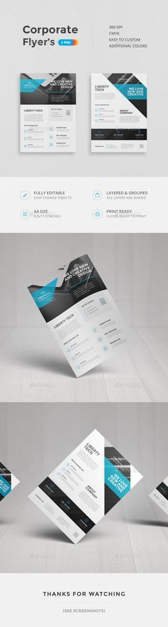 Buy Corporate Flyers by Entersgee on GraphicRiver. Corporate Flyer's Corporate flyer's made in clean and simple style. Objects easily changed to suit your needs. Web Design, Flyer Design, Layout Design, Template Flyer, Business Flyer Templates, Corporate Flyer, Corporate Design, Brochure Layout, Brochure Design
