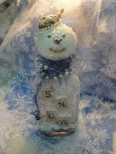 Snowman from Vintage Bottle by eweandme