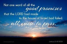There failed not ought of any good thing which the Lord had spoken unto the house of Israel; all came to pass. [Joshua 21:45]