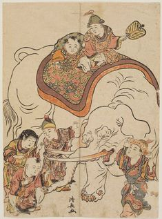 Chinese Boys with an Elephant, from an untitled series of Chinese Children (Karako)  Japanese about 1780 (An'ei 9) Artist Torii Kiyonaga (Japanese, 1752–1815)