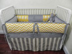 Custom Baby Bedding Set Yellow Chevron w/ Lulu by BabyBeddingbyJBD, $265.00