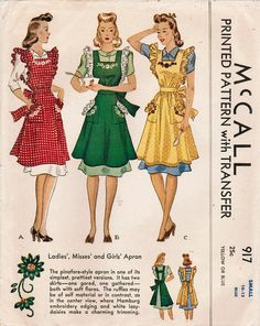 Cuter than cute ruffled 1940s pinafore aprons (McCall 917). #vintage #sewing #pattern #1940s #apron
