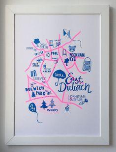 East Dulwich Kids Map London children's map by smalldotsdesign. Smalldots.co.uk