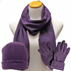 Luxury Divas Purple 3 Piece Polar Fleece Hat Scarf & Glove Matching Set. More description on the website.