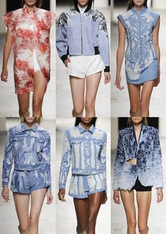 Barbara Bui S/S 2014-Engraved Flora Prints – Applique Cut-outs – Frayed and Distressed Areas – Large Scale Placement – 3D Texture – Faded Denim – Sculptured fabr...