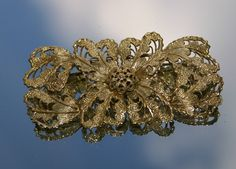 Vintage Large Gold Coloured Brass Floral Brooch (c1920s) by GillardAndMay on Etsy