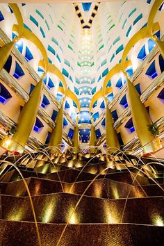 """Dubai is like the sandbox of architects, and I love it! This is the tall lobby hall of Burj Al Arab, """"the only 7 star hotel in the world"""" Burj Al Arab, Hotel Lobby, Sandbox, Architects, Dubai, Spaces, Star, Litter Box, Sand Pit"""