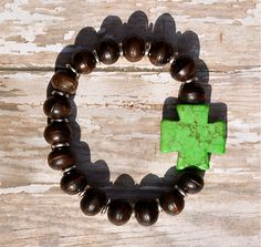 Square Cross Wooden Beaded Bracelet