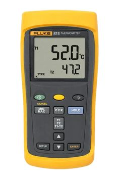 The Fluke 52 II dual-input digital thermometer delivers fast response with laboratory accuracy. Measure two contact temperature inputs simultaneously with industrial standard J, K, T, or E-type thermocouple temperature sensors