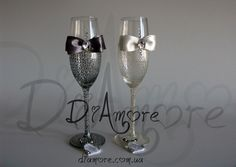 Ivory & Grey Wedding glasses from the collection LACE by DiAmoreDS, $47.00