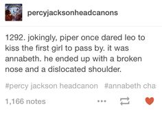 And it was from annabeth, not percy, now Percy just sat and laughed.