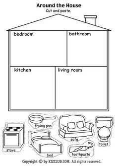 Resultado de imagen para parts of the house worksheets for kids pdf Around the House Cut And Paste Kindergarten - Grade Lesson Plan Reading recap of household objects and rooms How to Make Popsicle Stick Snowflake Ornaments - these are so cute and easy to Preschool Worksheets, Preschool Learning, Preschool Activities, Teaching Kids, Vocabulary Activities, Clock Worksheets, Cutting Activities, Cut And Paste Worksheets, Coloring Worksheets