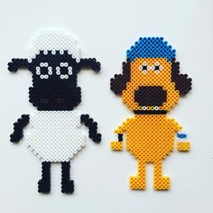 Shaun the Sheep perler beads by Melty Bead Patterns, Pearler Bead Patterns, Perler Patterns, Pearler Beads, Fuse Beads, Beading Patterns, Art Perle, Perler Bead Templates, Shaun The Sheep