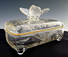 Vintage Cut Glass Cigarette Case / Box With Cover & 4 ...