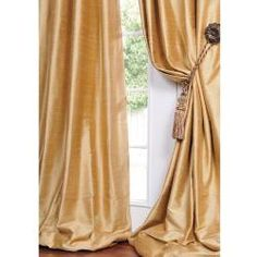 Shop for Exclusive Fabrics Signature Sunrise Gold Textured Silk Curtain Panel. Get free delivery On EVERYTHING* Overstock - Your Online Home Decor Outlet Store! Drapes And Blinds, Silk Curtains, Window Drapes, Panel Curtains, Drapery, Best Windows, House Windows, Window Treatment Store, Window Treatments