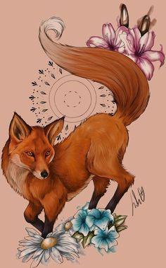 Цветной эскиз лисы с мандалой, ромашками и другими цветами