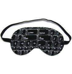 Black Computer Keyboard Sleep Eye Mask from Oddsnblobs at Etsy