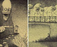 Artist Draws Terrifying Monsters On Sticky Notes | Bored Panda