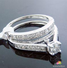 1.03CT 14K WHITE GOLD ENGAGEMENT WEDDING BRIDAL RING SET SHINY WHITE DIAMONDS #aonedesigns