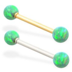 14K Solid Gold straight barbell with Green opal balls