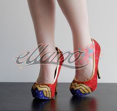 Wonder Woman Glitter heels are hand made by Rachel (creator of ellaroo) from deign to putting all the glitter on these shoes are handmade with love
