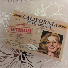 theBalm Autobalm California Palette Make your eyes pop with this face palette by theBalm. theBalm Autobalm California Palette contains blush, eyeshadows and a highlighter to make perfecting your look easy.  - California driver license design - Highlighter and crease/liner add a dramatic touch to your lids. Thebalm Makeup Eyeshadow