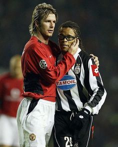 David Beckham and Edgar Davids, @manchesterunited vs @juventus @davidbeckham @edgardavidsofficial