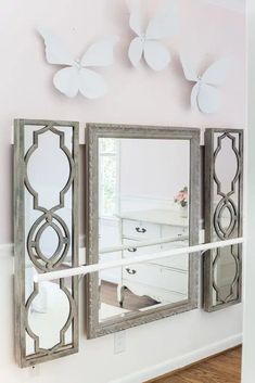 How to make a ballet barre with mirrors and shelf brackets and how to hang wall decor on a chair rail, board and batten, or molding #balletbarre #kidsdecor #girldecor #girlbedroom #girlroom #kidsroom #walldecor #hanginghack #wallhack #diywalldecor Bedroom Design On A Budget, Budget Bedroom, Diy Home Decor Bedroom, Diy Wall Decor, Room Decor, Bedroom Ideas, Woman Bedroom, Girl Decor, Diy Chair