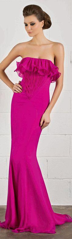 RANI ZAKHEM #strapless #fucsia #dress