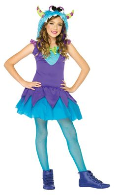 Have fun in this colorfulCross-Eyed Carlie Childs Costume! Costume includes Dress with layered skirt and furry monster hood. Does not include tights Sizes are Small, Medium, and Large This is a childs costume! Shipping takes business days Cute Girl Costumes, Halloween Costumes For Girls, Costumes For Women, Children Costumes, Halloween Ideas, Girl Halloween, Halloween 2015, Halloween Stuff, Costume Halloween