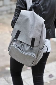 The Best Everyday Affordable Backpack And How To Style It Everlane backpack, how to style a backpack, Black and grey outfit, how to style a backpack, casual outfit ideas via My Style Vita Backpack Outfit, Backpack Purse, Leather Backpack, Fashion Backpack, Diaper Backpack, Canvas Backpack, Leather Jacket, Black And Grey Outfits, Grey Backpacks